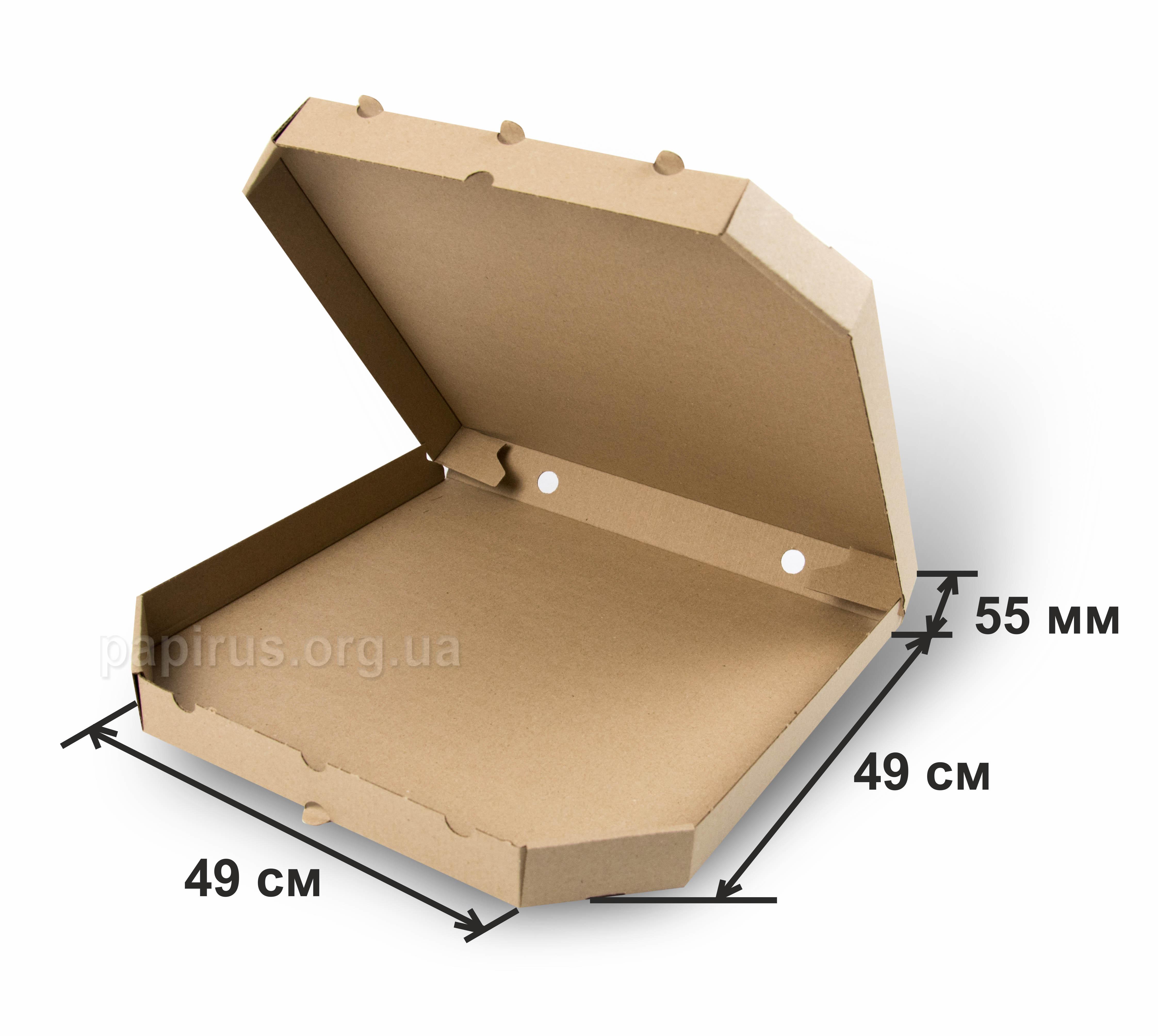 Коробка для пиццы бурая 490х490, г.Сумы, Типография Папирус