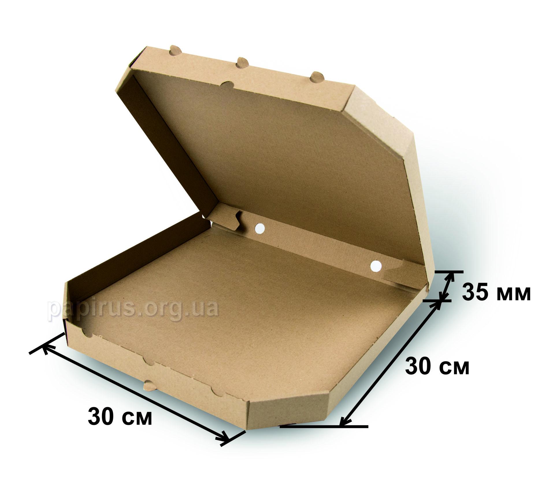 Коробка для пиццы бурая 300х300, г.Сумы, Типография Папирус