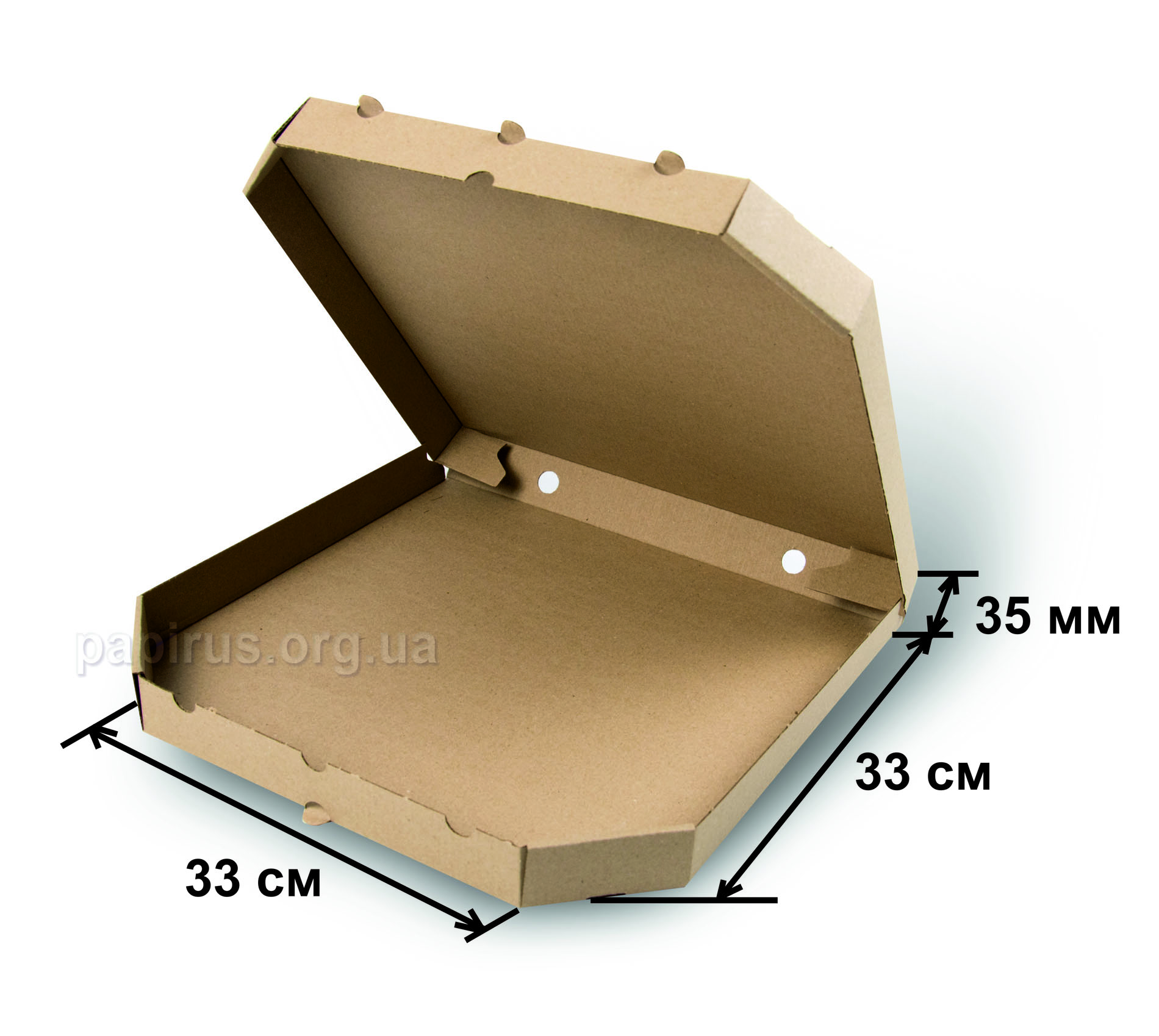 Коробка для пиццы бурая 330х330, г.Сумы, Типография Папирус