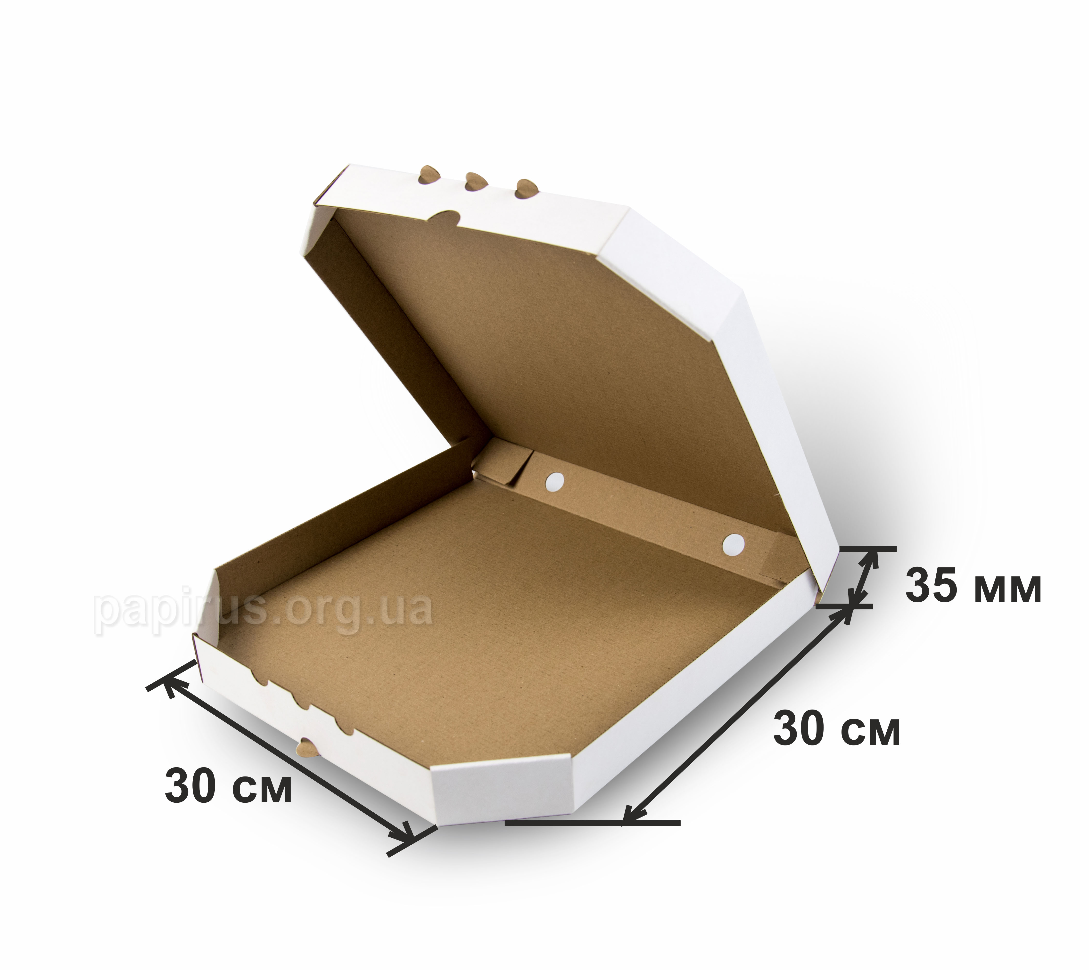 Коробка для пиццы белая 300х300, г.Сумы, Типография Папирус